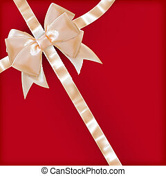 Pearls color gift bow with ribbon on red. EPS 10