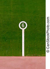 Number six mark in a fronton court