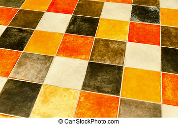 Flooring - Floor made with multicoloured ceramic tiles