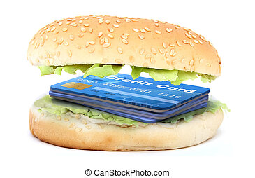 sandwich stuffed with a credit cards - sandwich stuffed with...