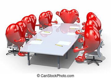 many hearts meeting around the table and follow their boss