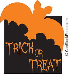 Trick or treat vector card with bat. Orange and black party...