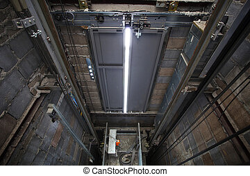 inside of roping Elevator, Lift box builting in high...