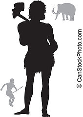 Ancient hunter - Cave man hunting with mammoth on...