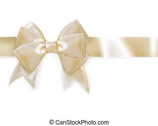 Gold ribbon with bow isolated on white. EPS 10
