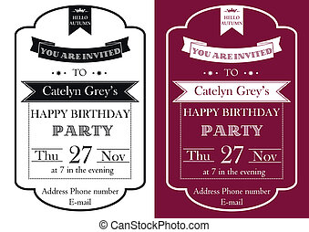 Vintage Birthday Party invitation - Vector set of Vintage...