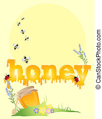 honey background - an illustration of the word honey with...
