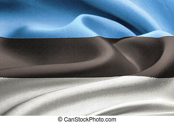 Flag of Estonia waving in the wind. Silk texture pattern