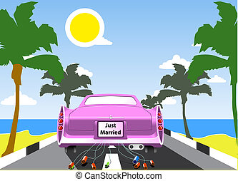 Pink wedding limousine with palms and sea beach