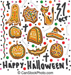 Halloween cookies Symbols of Halloween Set Vector - Cute...