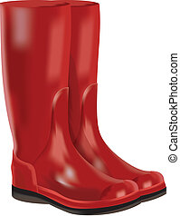 rubber boots on white background. - Red rubber boots for wet...