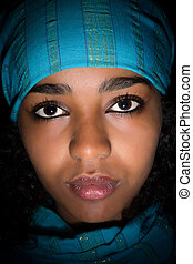 Ethiopian girl with blue scarf - Young Ethiopian woman...