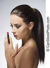 beauty girl with lipstick