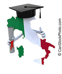 Italy maps with Graduation Cap and Diploma, 3d illustration