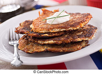 Potato Pancakes - A stack of delicious homemade potato...