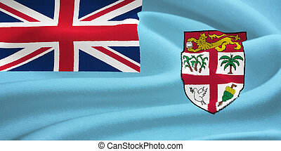 flag of Fiji waving in the wind Silk texture pattern