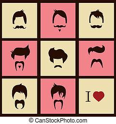 hipster, cabelo, estilos, bigode
