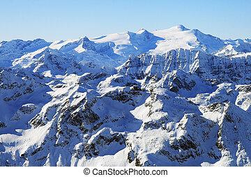 montagne, picchi, chiaro, alto, giorno, vista
