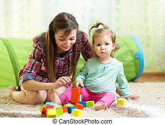 mamá, niño, hija, juego, bloque, juguetes,...