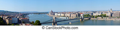 Panoramic summer view to Budapest from a hill Gelert....