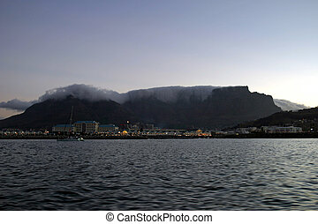 Table mountain at sunset in Cape Town, South Africa