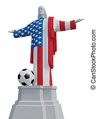 Christ the Redeemer colored with USA flag and soccer ball,...