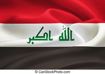flag of Iraq waving in the wind. Silk texture pattern