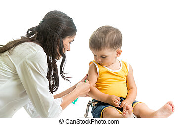 doctor vaccinating kid boy isolated