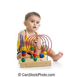 男孩, 教育, 玩具, 顏色, 相當, 玩, 孩子