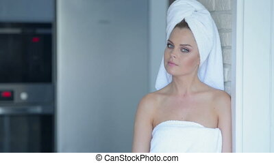Smiling Young Woman Wearing Bath Towel - Portrait of Smiling...