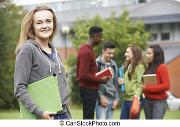 Portrait Of Student Group Outside College Building