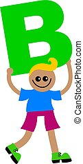 letter B kid - Happy little ethnic boy holding a giant...