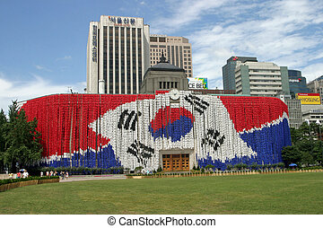 Seoul city hall with national flag
