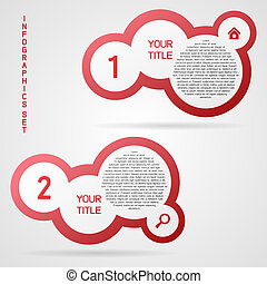 Vector infographic set - Red clean vector infographic set in...