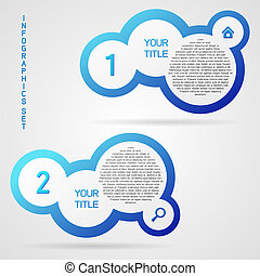 Vector infographic set - Blue clean vector infographic set...