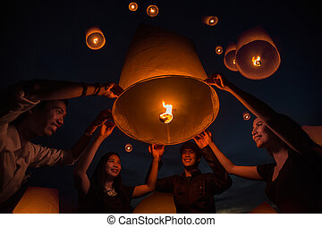 Thai people floating lamp in Tudongkasatarn, Chiangmai,...