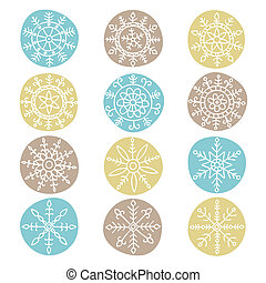 Snowflake set - Set of hand drawn snowflakes. Vector...