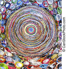 Art made from recycled magazines - Colorful bowl made from...