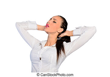 isolated young woman - young woman is relaxed on white...