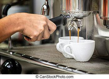 Se prepara, espresso, el suyo, café, Tienda