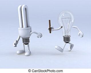 relay between light bulb and cfl bulb, the concept of...