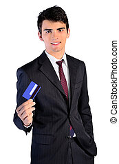 isolated business man showing card