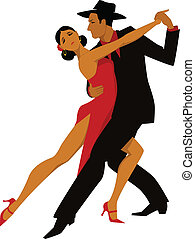 Tango - Hispanic couple dancing tango, vector illustration,...
