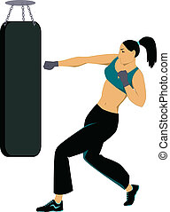 Kickboxing training - Woman working out, striking a punching...