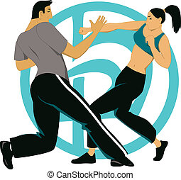 Krav maga - Man and woman practicing a close combat...