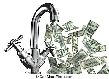 tap water with US dollar banknotes 3d illustration