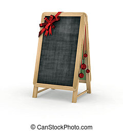 christmas blackboard for restaurant 3d illustration