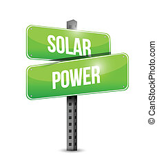 solar power sign illustration design over a white background