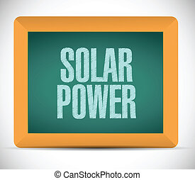 solar power message on a board illustration design over a...