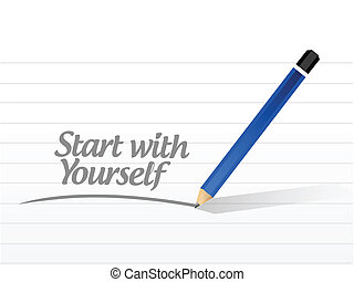 start with yourself message illustration design